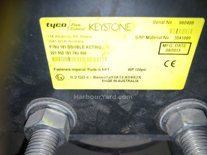 Tyco Flow control Keystone F79U 181 Double Acting